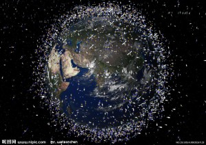 Artists interpretation of technical data mapping satellites in orbit around the Earth